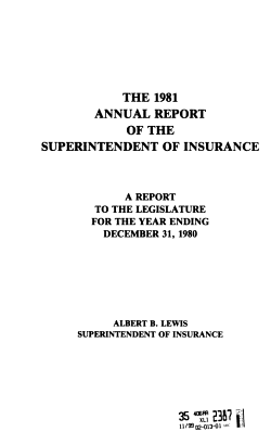 Annual Report of the Superintendent of Insurance of the State of New York PDF