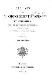Archives des Missions Scientifiques et Littéraires. 2eme Série: Volumes2à3