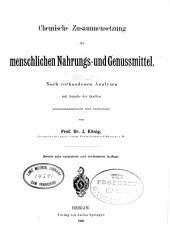 Chemie der menschlichen Nahrungs- und Genussmittel: Band 1