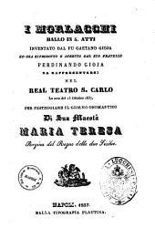 I Morlacchi ballo in 4 atti inventato dal fu Gaetano Gioja