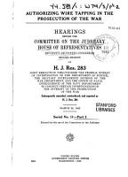 Authorizing Wire Tapping in the Prosecution of the War PDF