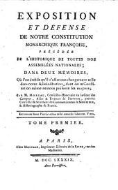 Exposition et défense de notre Constitution monarchique française