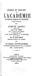 Séances et travaux de l'Académie des sciences morales et politiques, compte rendu: Volume38;Volume138