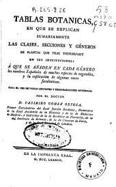 Tablas botánicas: en que se explican sumariamente las clases, secciones y géneros de plantas que trae Tournefort en sus Instituciones ...