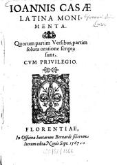 Joannis Casae latina monimenta