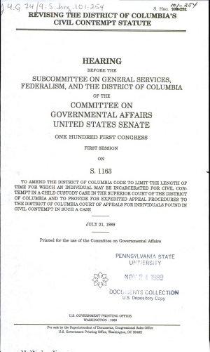 Revising the District of Columbia s Civil Contempt Statute