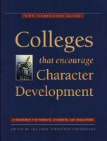Colleges That Encourage Character Development PDF