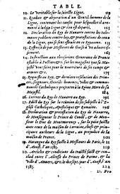 Les mémoires de la ligue: Sovs Henri III, & Henri IIII. Rois de France. Conprenans en six Volumes, ou Recueils distincts, infinies particularités memorables des affaires de la Ligue, depuis l'an 1576. jusques à l'an 1598, Volume1