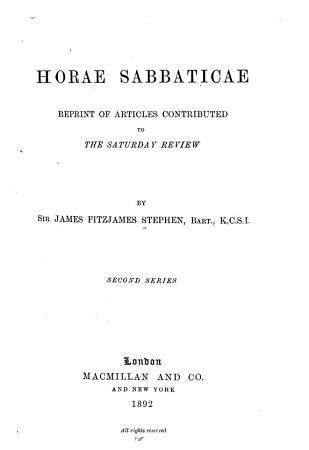 Horae Sabbaticae PDF