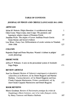 Journal of Pidgin and Creole Languages PDF