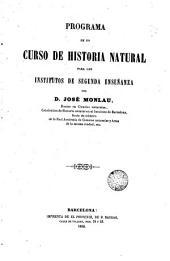 Programa de un curso de historia natural para los institutos de 2 enseñanza: promociones, zoología