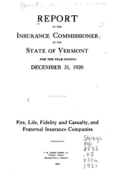 Report of the Insurance Commissioner of the State of Vermont