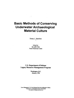 Basic Methods of Conserving Underwater Archaeological Material Culture PDF