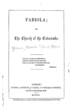 Fabiola  Or The Church of the Catacombs
