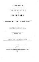Appendix to the     Journals of the Legislative Assembly  and the Legislative Council      PDF
