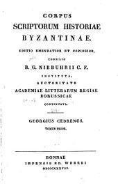 Corpus scriptorum historiae Byzantinae: Volume 24, Issue 1