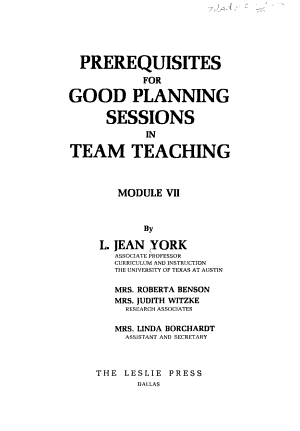 Prerequisites for Good Planning Sessions in Team Teaching PDF