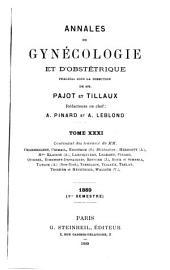 Annales de gynecologie et d'obstetrique: Volume 31