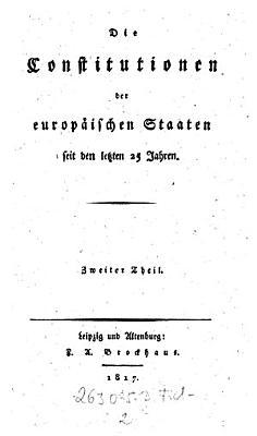 Die Constitutionen Der Europ Ischen Staaten Seit Den Letzten 25 Jahren
