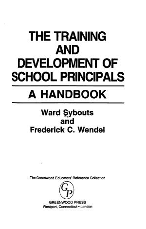 The Training and Development of School Principals PDF