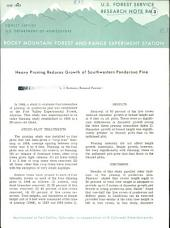 Heavy Pruning Reduces Growth of Southwestern Ponderosa Pine