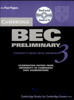Cambridge BEC Preliminary 3  Self Study Pack  Students s Book and Audio CD  PDF