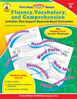 Fluency  Vocabulary  and Comprehension  Grade K PDF