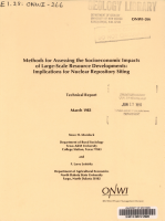Methods for Assessing the Socioeconomic Impacts of Large scale Resource Developments PDF