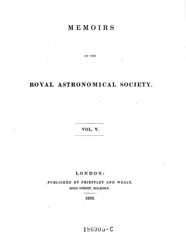 Memoirs of the Royal Astronomical Society Vol. V