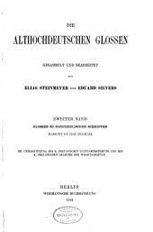 Die althochdeutschen Glossen: Bd. Glossen zu nichtbiblischen Schriften, bearb. von E. Steinmeyer. 1882