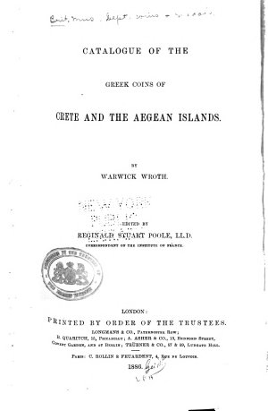 Catalogue of the Greek Coins of Crete and the Aegean Islands