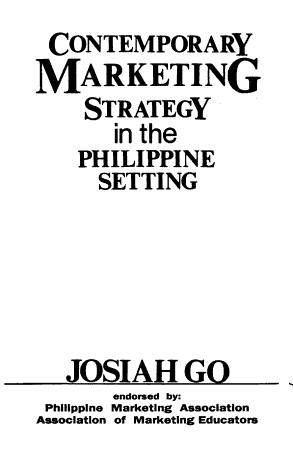 Contemporary Marketing Strategy in the Philippine Setting PDF