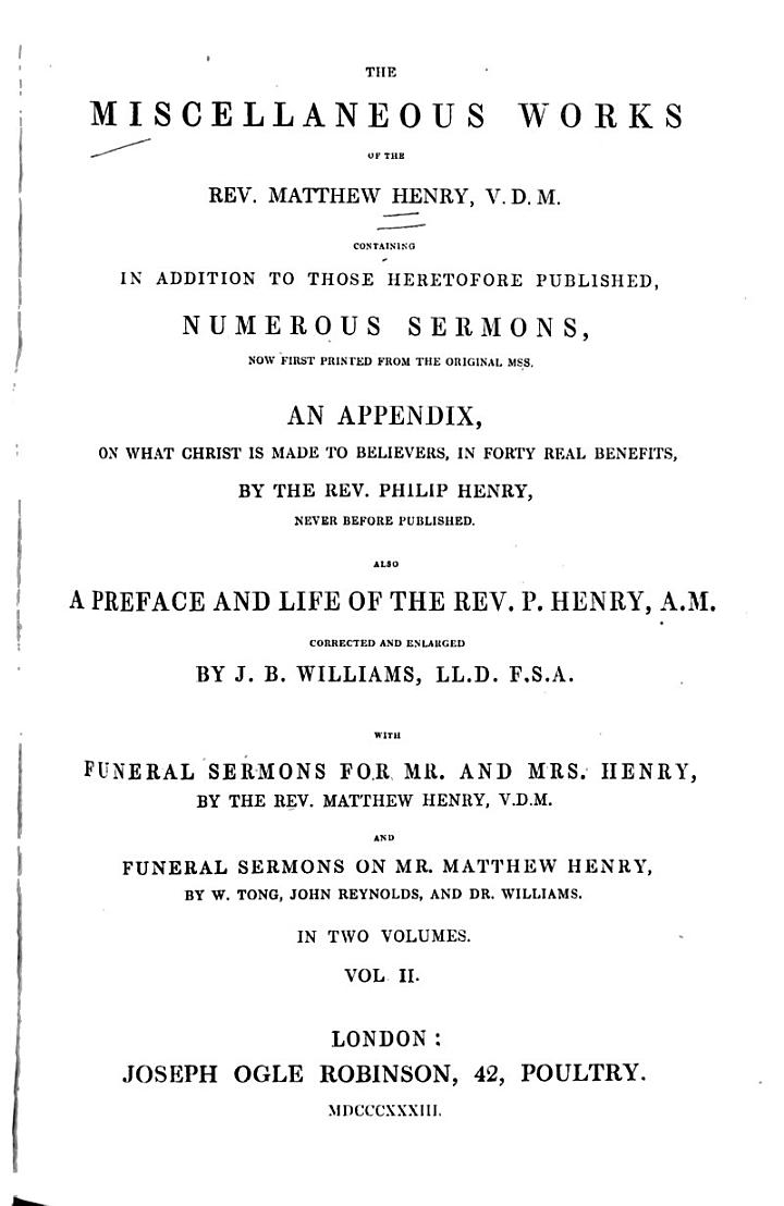 The Miscellaneous Works of the Rev. Matthew Henry