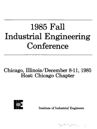 Fall Industrial Engineering Conference PDF