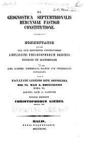 De geognostica septemtrionalis Hercyniae fastigii constitutione