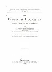 Der Freiburger hochaltar kunstgeschichtlich gewürdigt
