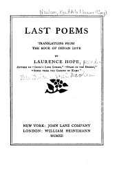 Last poems, translations from the book of Indian love