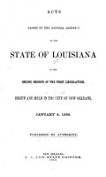 Acts Passed at the     Session of the Legislature of the State of Louisiana     PDF
