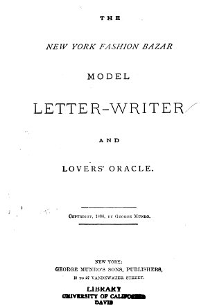 The New York Fashion Bazar Model Letter writer and Lovers  Oracle