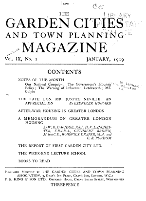 Garden Cities and Town Planning