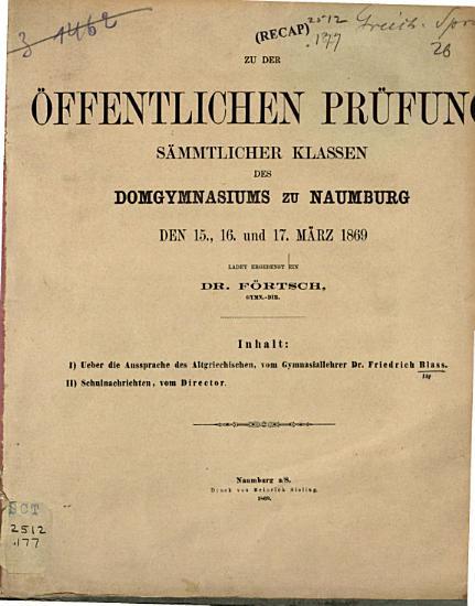 Ueber die Aussprache des Altgriechischen PDF