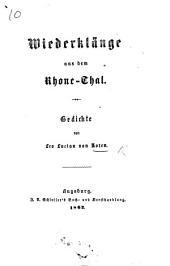 Wiederklänge aus dem Rhone-Thal. Gedichte