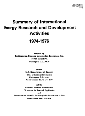 Summary of International Energy Research and Development Activities PDF