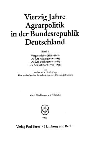 Vierzig Jahre Agrarpolitik in der Bundesrepublik Deutschland PDF
