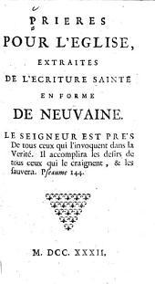 Prières pour l'Eglise, extraites de l'Ecriture Sainte en forme de neuvaine