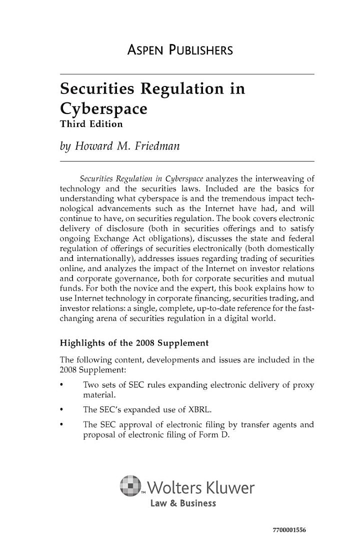 Securities Regulation in Cyberspace, Third Edition