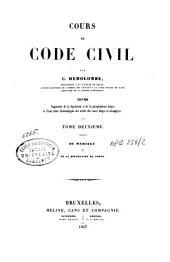 Cours de code civil: Du mariage et de la séparation de corps. T. 2