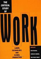 The Critical Study of Work PDF