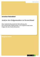 Analyse des Erdgasmarktes in Deutschland: Eine industrieökonomische Betrachtung des bevorstehenden Marktzutritts von Gazprom und seine Folgen für den Endverbraucher