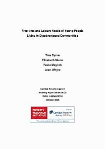 Free time and leisure needs of young people living in disadvantaged communities Book